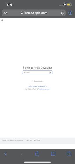apple developer giris
