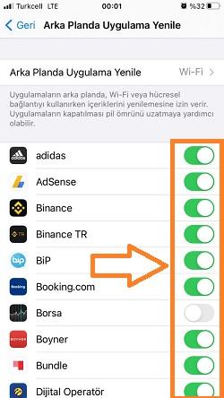 iphone arka planda uygulama yenileme tek tek acma kapama