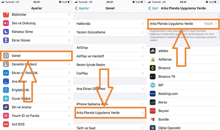 iphone arka planda uygulama yenileme