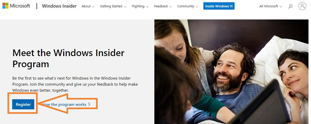 windows insider program register