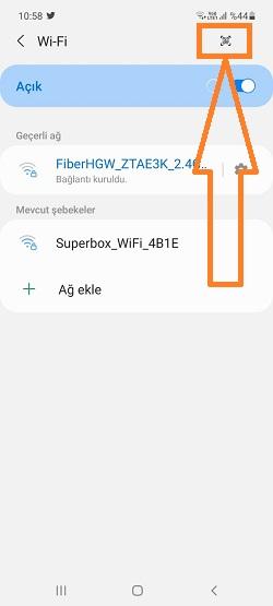 samsung wifi qr kod okutma