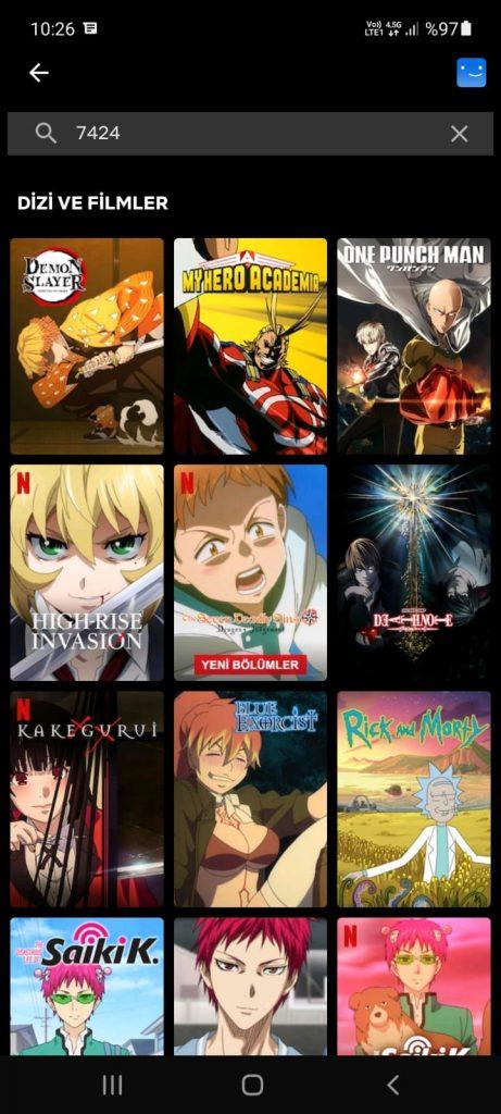 netflix anime kodu